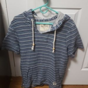 Hollister woven twill hooded pullover short sleeve